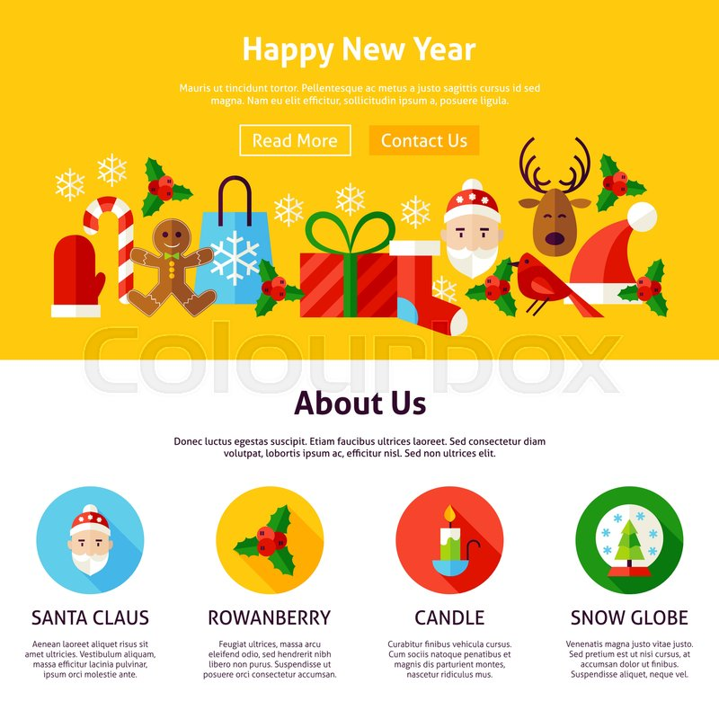 happy new year website design flat style vector illustration for web banner and landing page merry christmas stock vector colourbox