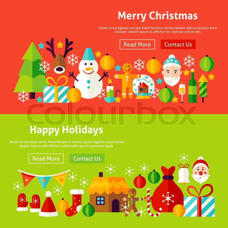 Merry Christmas Website Banners. Vector Illustration for Web Header ...