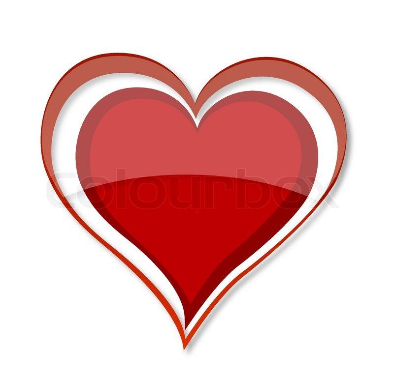 Shiny Love Heart Symbol Red Color Stock Vector Colourbox