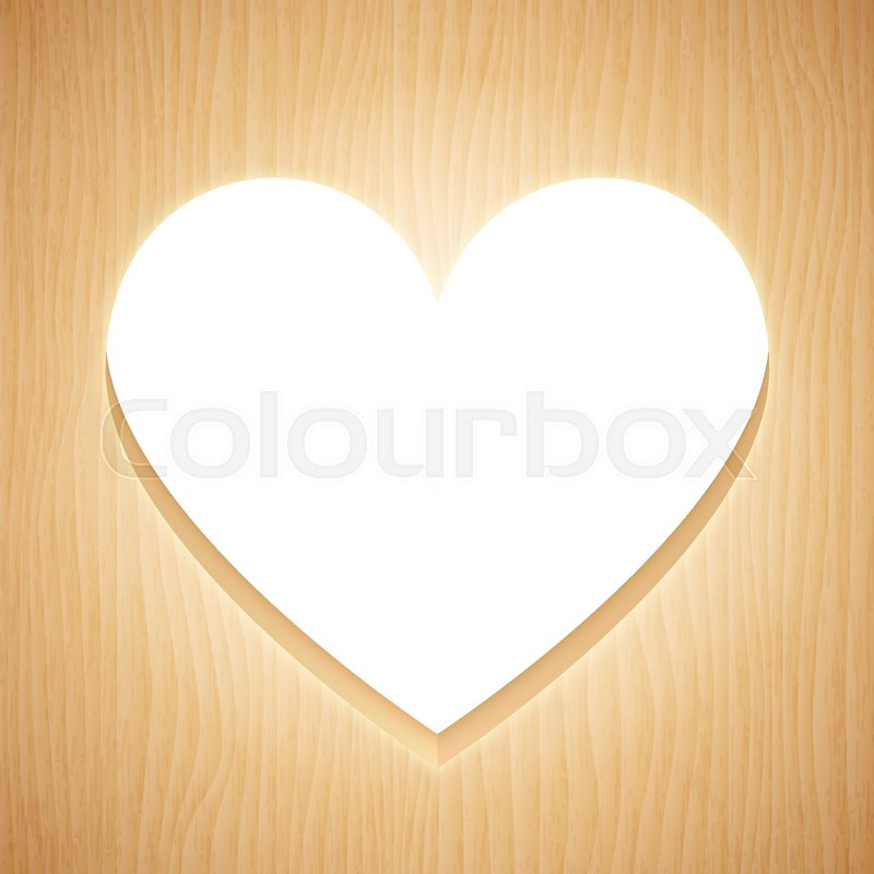 Heart shaped frame cuted from wood plank | Stock Vector | Colourbox
