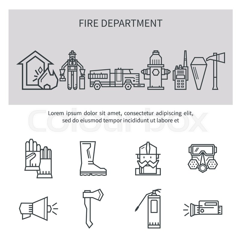 Set icons outline fire safety. Flame, truck, fire extinguisher ...