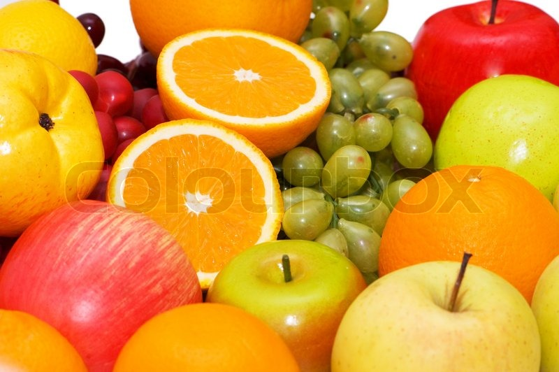 Stock image of 'Various colourful fruits arranged on the tray'