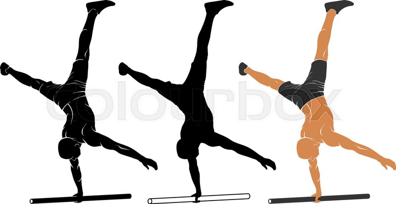 vector illustration of man performing one arm handstand on parallel rh colourbox com
