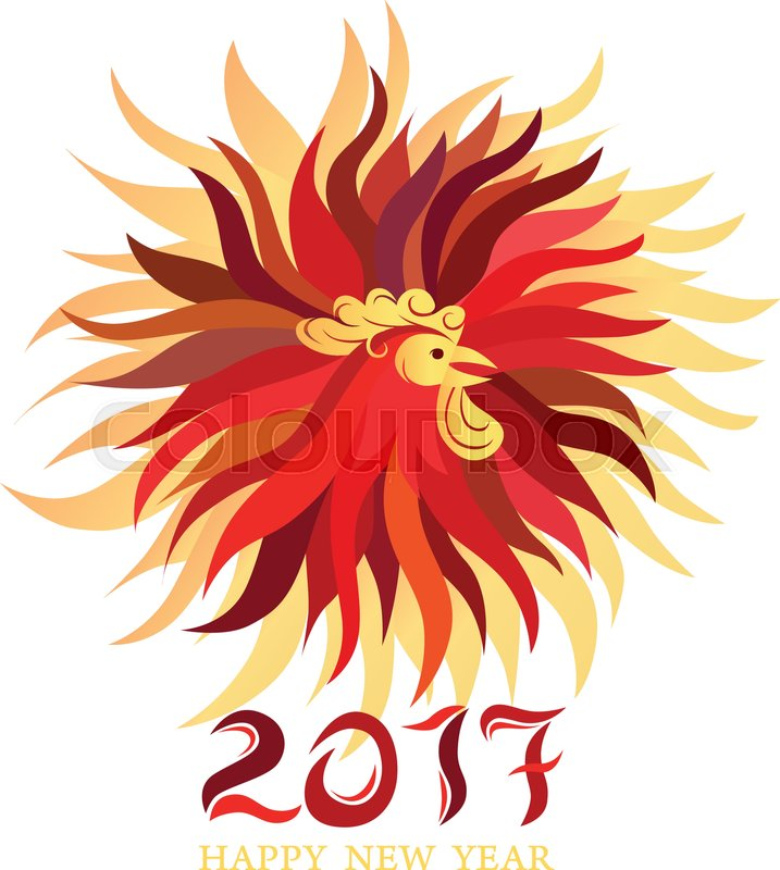 'Red rooster, symbol of 2017 on the Chinese calendar. Happy new year ...