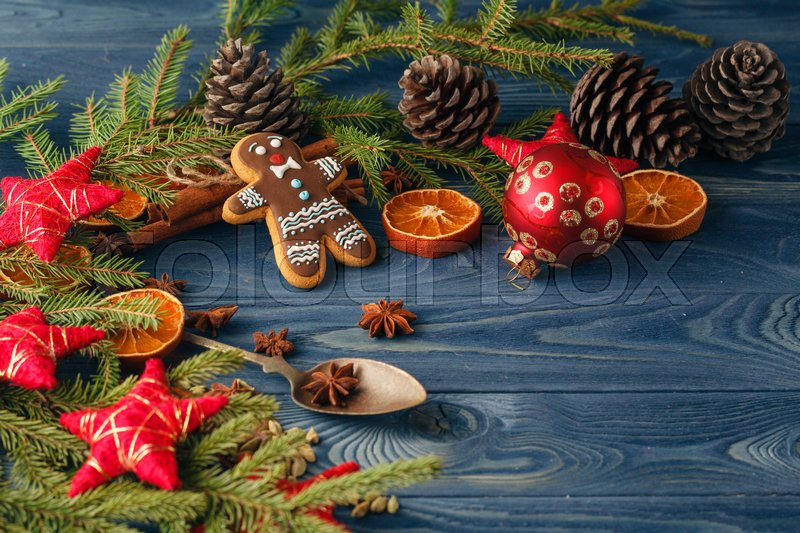 Christmas food. Gingerbread man cookies in Christmas setting. Xmas dessert, stock photo