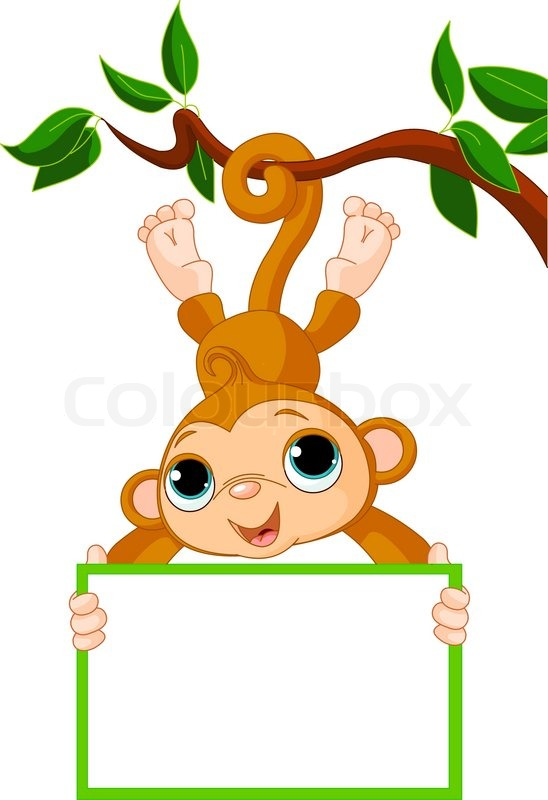 cute baby monkey on a tree holding blank sign