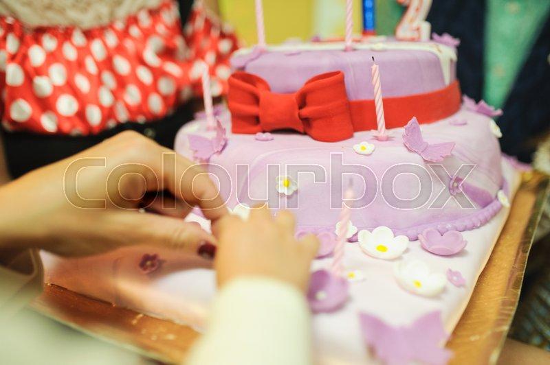Baby birthday decor or baby shower sweet cake, stock photo