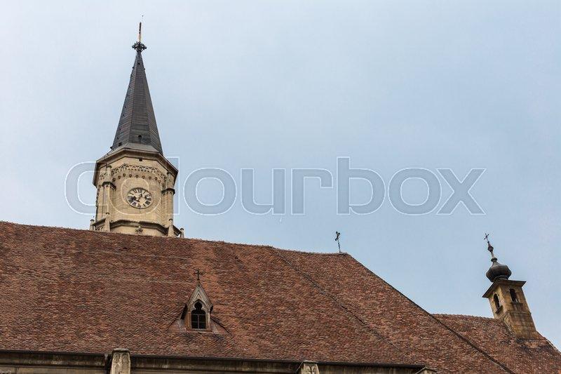 Church of Saint Michael is a Gothic-style Roman Catholic church in Cluj-Napoca, stock photo