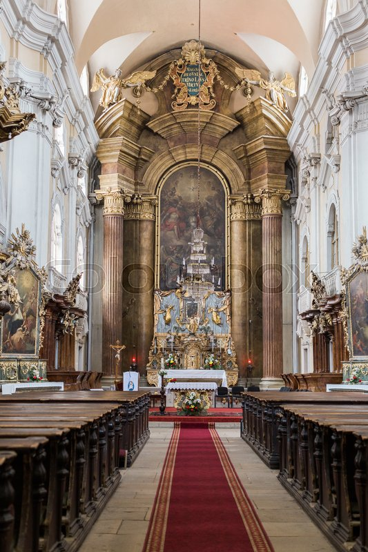 Church in a Gothic-style Roman Catholic church in Cluj-Napoca, stock photo