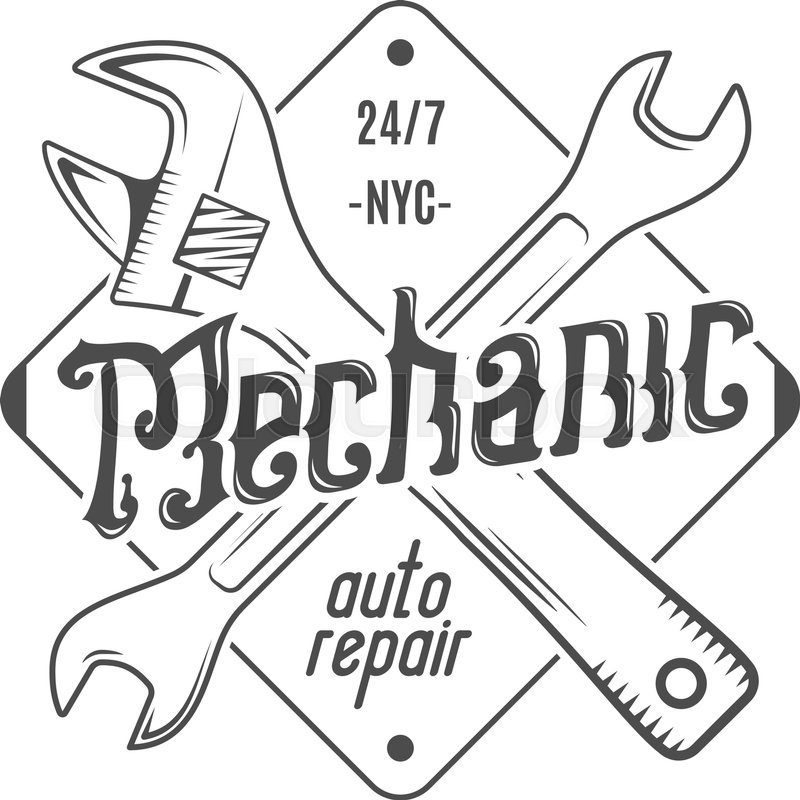 Vintage label design. Mechanic auto repair patch in old style with ...