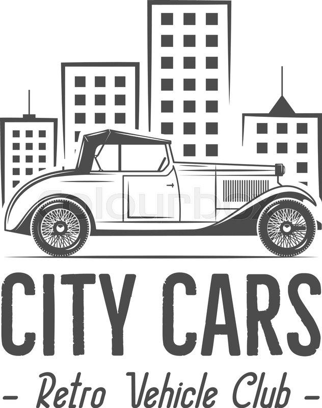 Vintage city car label design. Classic auto badge, insignia. Retro ...