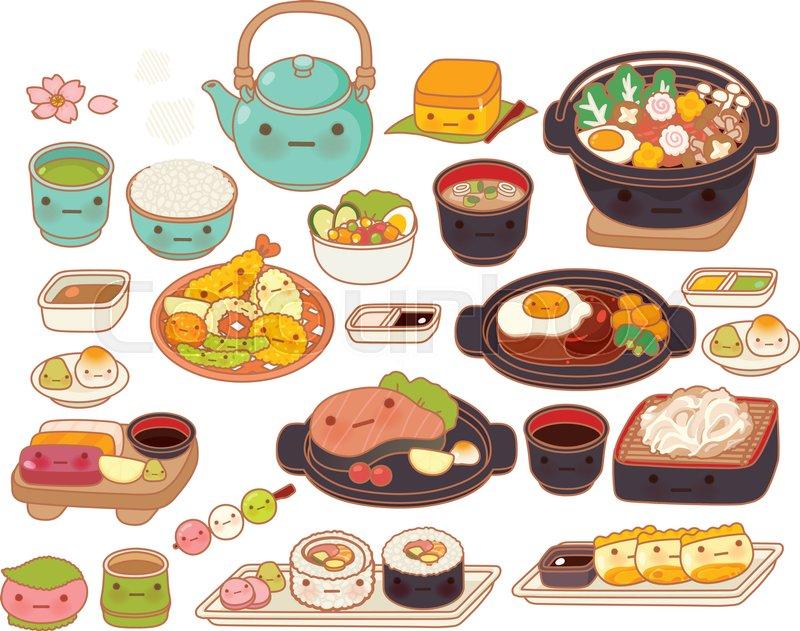 Cute Tempura Adorable Sashimi Sweet Hamburg Steak Kawaii Maki Girly Sukiyaki In Childlike Manga Cartoon Isolated On White Vector File EPS10