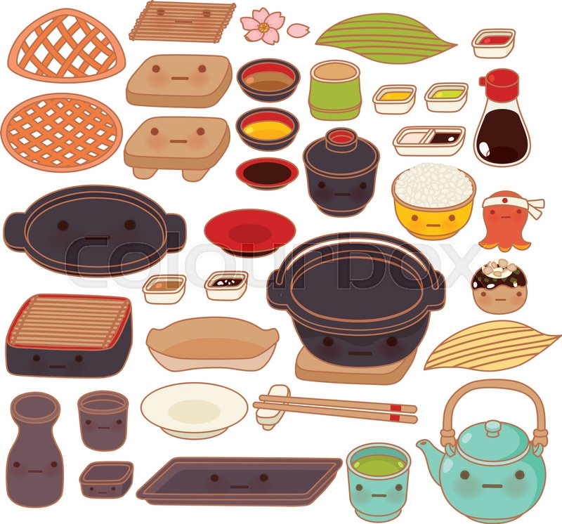 Collection Set Of Lovely Japanese Kitchen Ware Doodle Icon Cute Pot Adorable Glass Sweet Teapot Kawaii Dish Girly Utensil In Childlike Manga