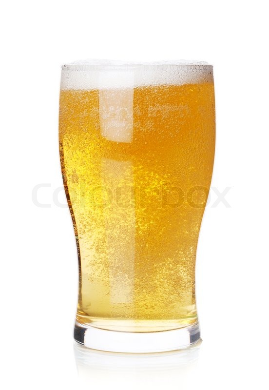 Beer Collection Cold Lager Beer In Glass Isolated On