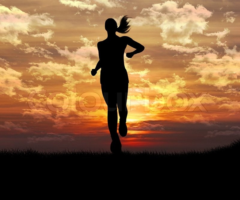 Running away girl silhouette