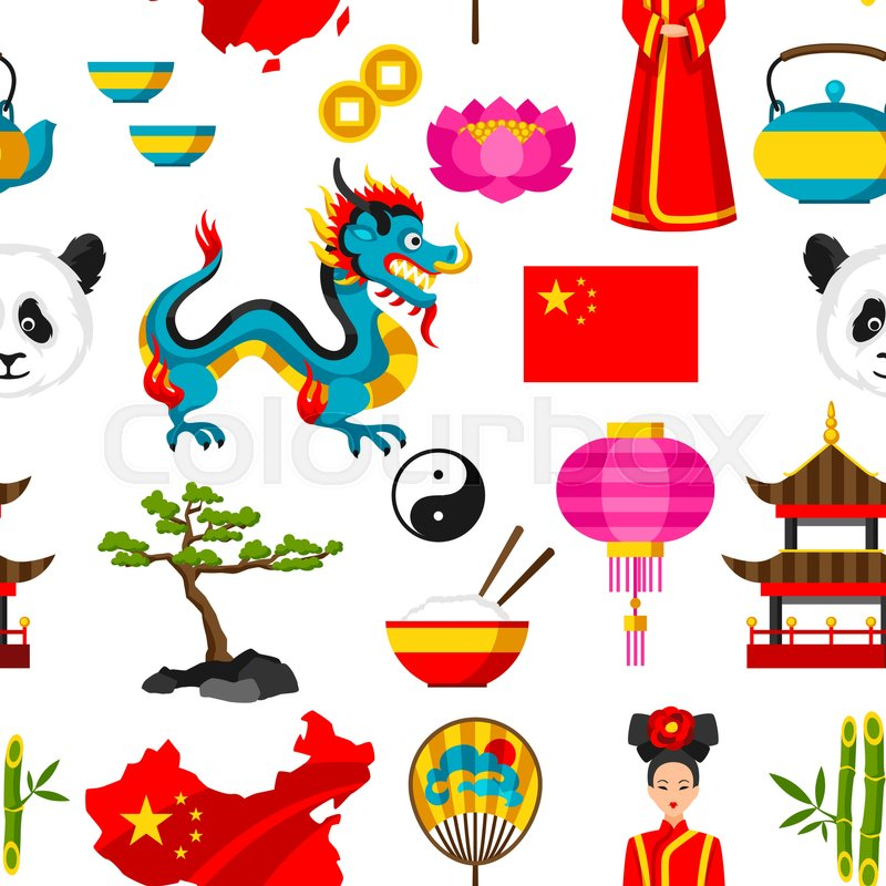 China Seamless Pattern Chinese Symbols And Objects Stock Vector