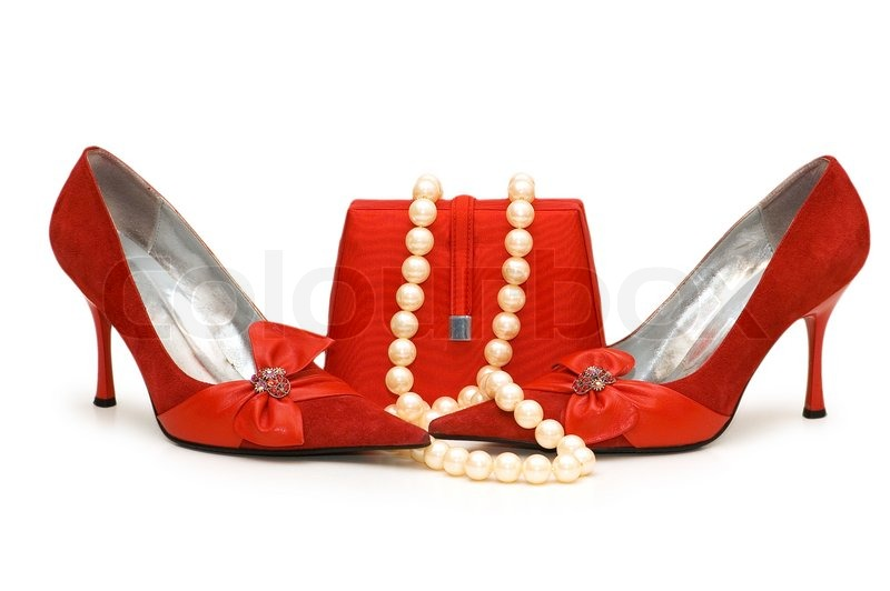 Dress Shoes on Red Shoes  Purse And Pearl Necklace Isolated