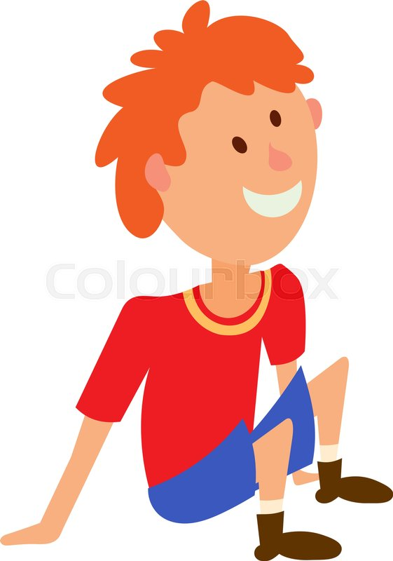 Vector Illustration Of A Boy In Red T Shirt And Shorts Sitting On The Floor Colored Figure Child Position Rest