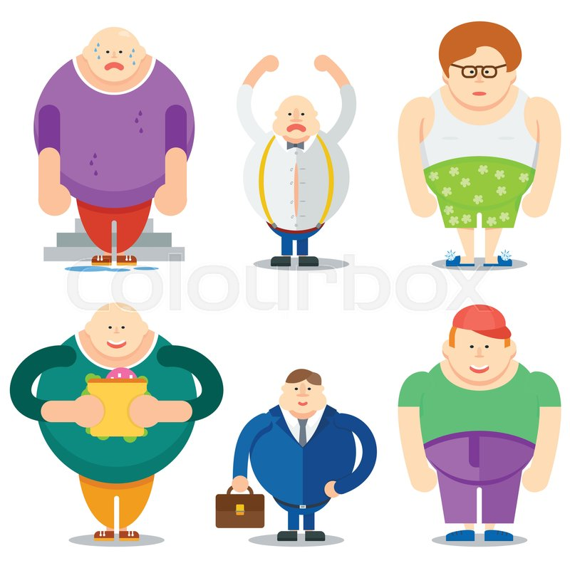 Funny Fat Man Cartoon Characters Stock Vector Colourbox