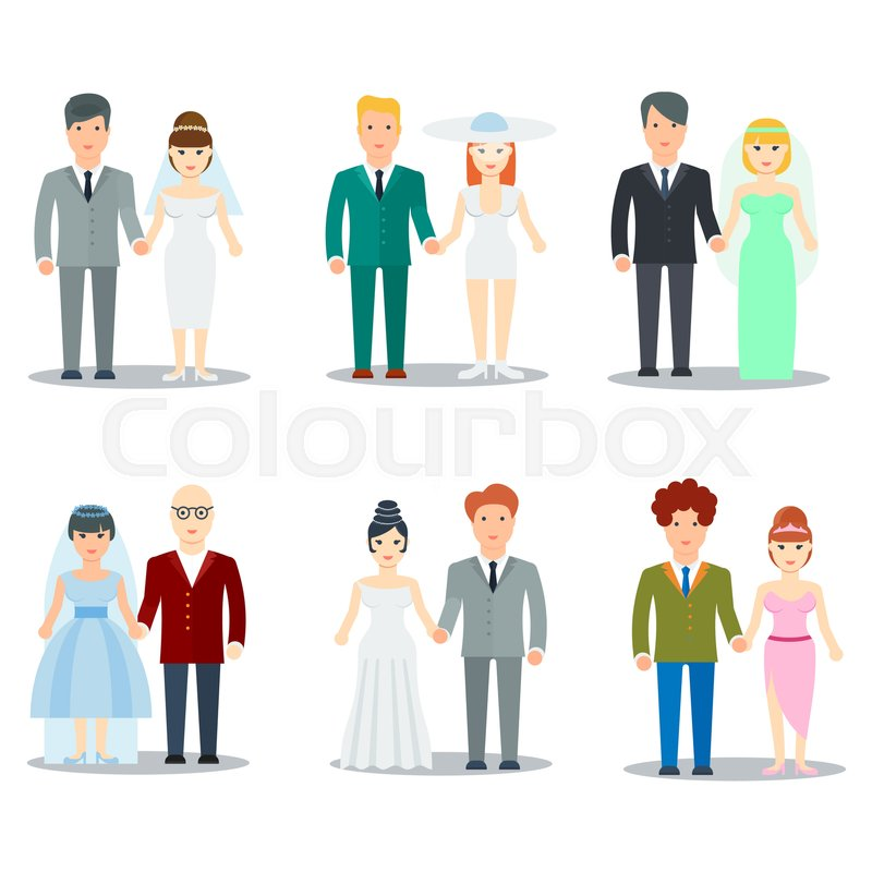 Formal Attire On Wedding Invitation: Newlyweds Couple Cartoon Characters. ...
