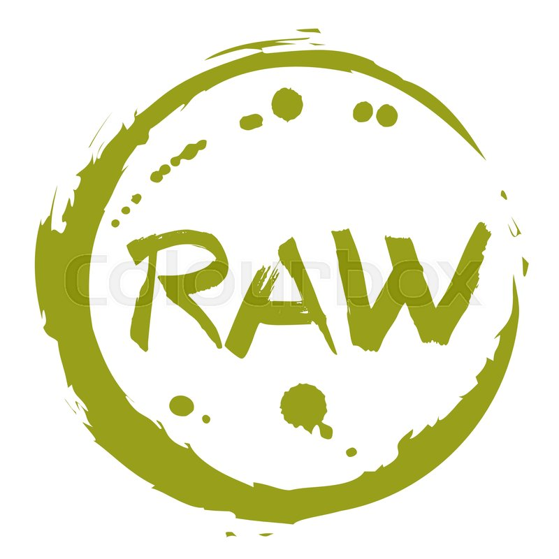 Raw food hand drawn round label isolated vector ...
