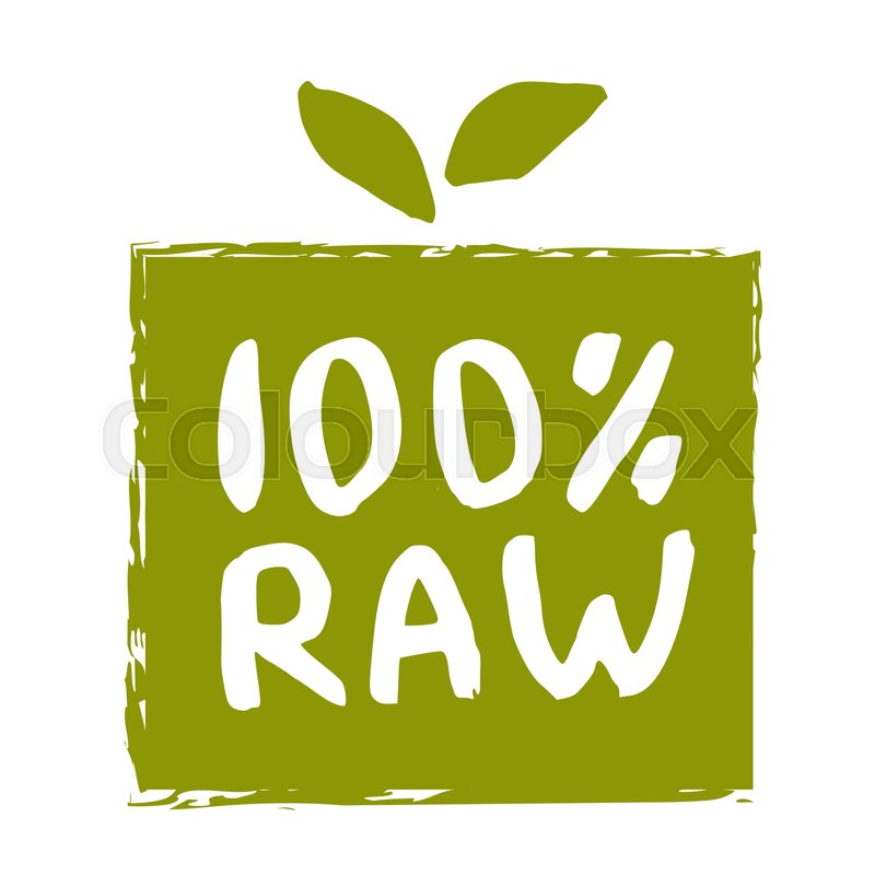 Raw food hand drawn label isolated vector illustration ...