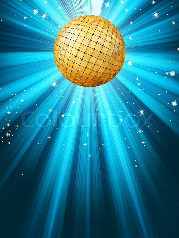 Abstract Disco Party Lights And Gplden Disco Ball