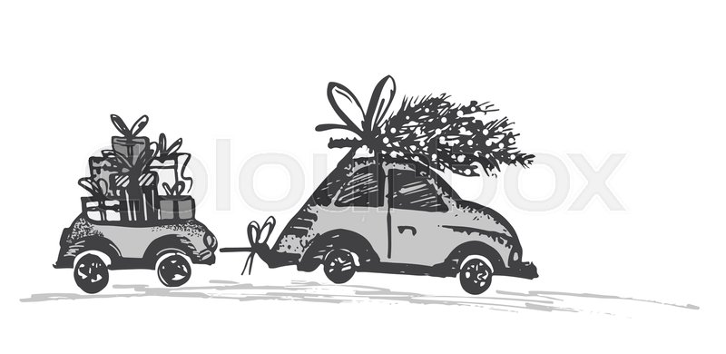 greeting card with christmas tree on car roof and car trailer with xmas gifts black gray silhouette on white background draw by hand sketch - Black Christmas Trailer