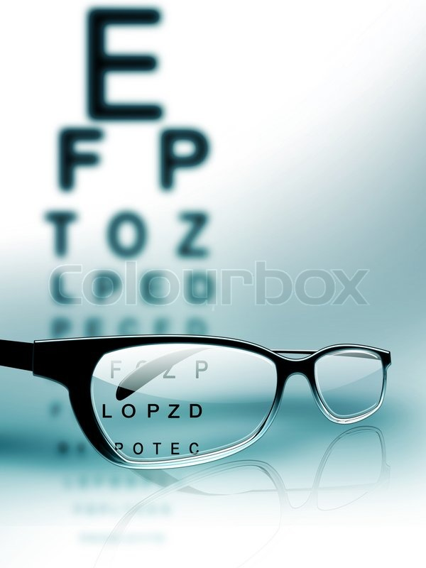 Glasses On The Background Of Eye Test Chart Stock Photo Colourbox
