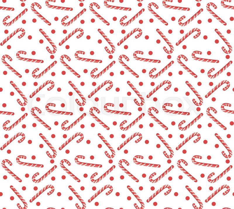 Christmas Seamless Pattern With Candy Cane Background Texture Wallpaper Fabric Vector Illustration