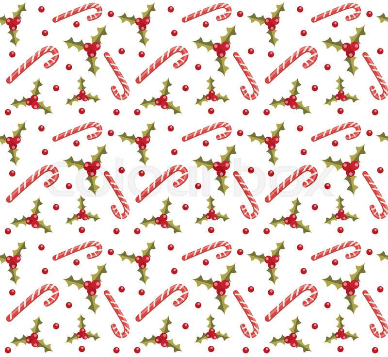 Christmas Seamless Background With Holly And Candy Cane