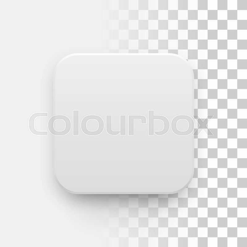 white abstract app icon blank button template with realistic shadow