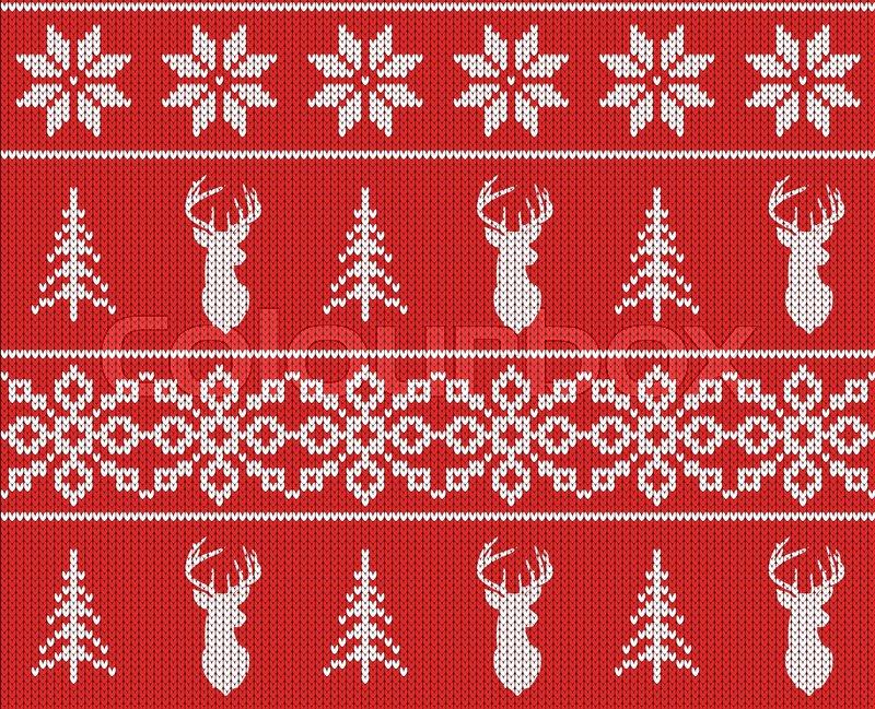 Scandinavian Christmas Winter Seamless Knitted Pattern Head Deer