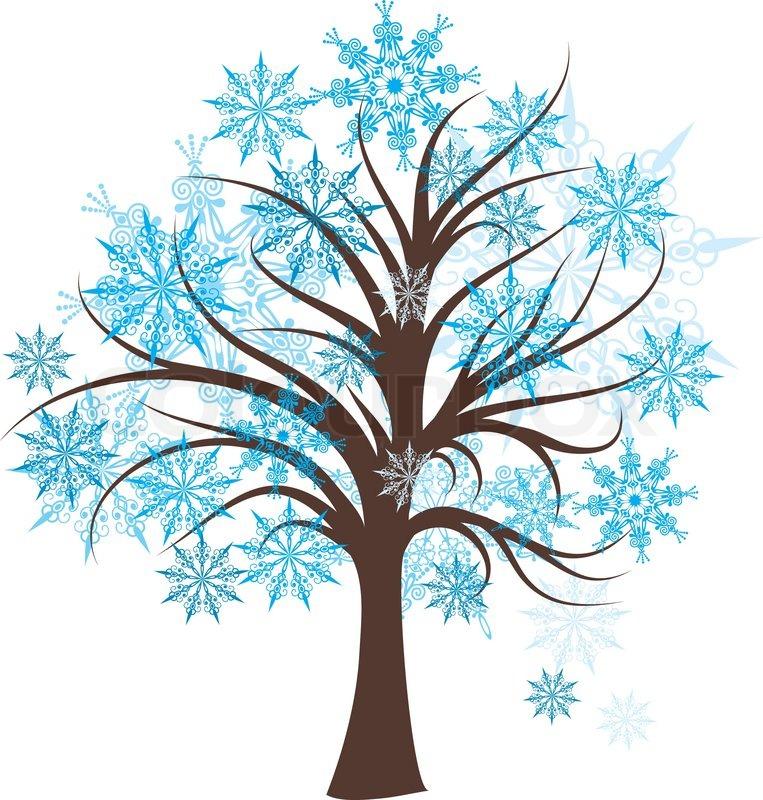 Dekorative vinter træ, vektor ... | Stock vektor | Colourbox