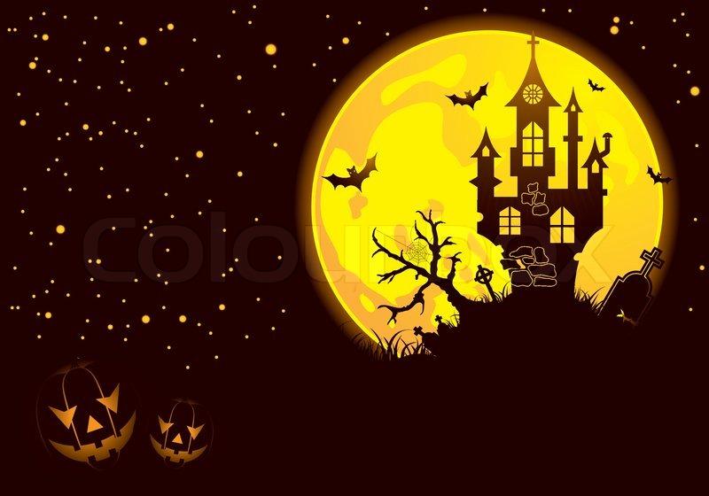 stock vector of halloween background with bat pumpkin castle element for design - Design Halloween