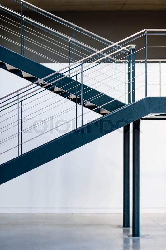 Blue Metal Staircase. Interior Warehouse Stairs. Emergency Exit Stairs,  Stock Photo