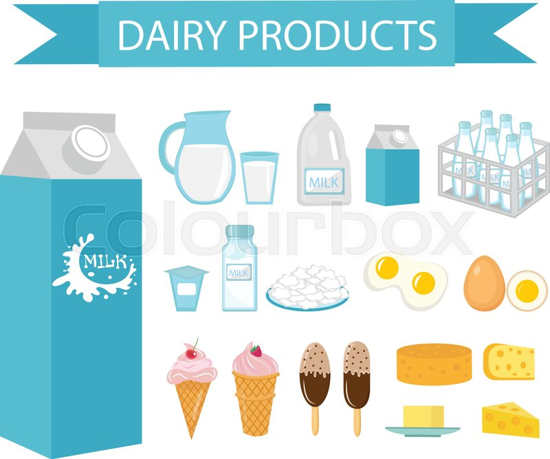 Dairy products icon set, flat style      | Stock vector