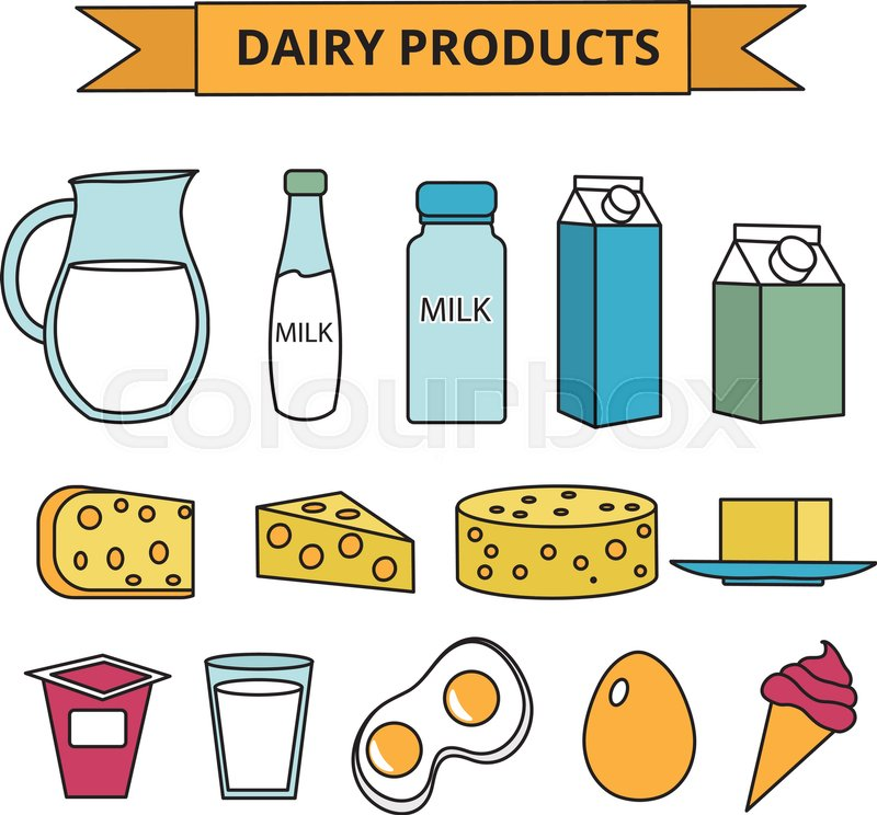 Dairy Products Icon Set Modern Line Outline Style Milk