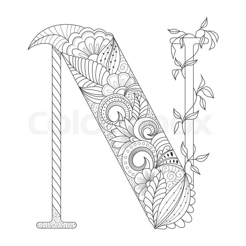 Black line letter N with doodle
