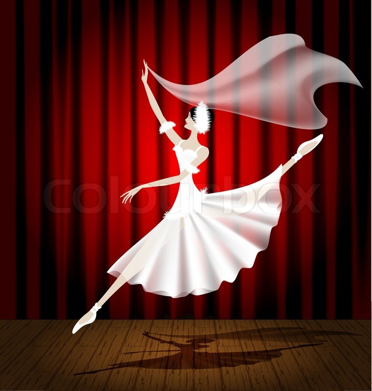 Against The Background Of Stage And Red Curtain Dancing Ballerina In A White Dress