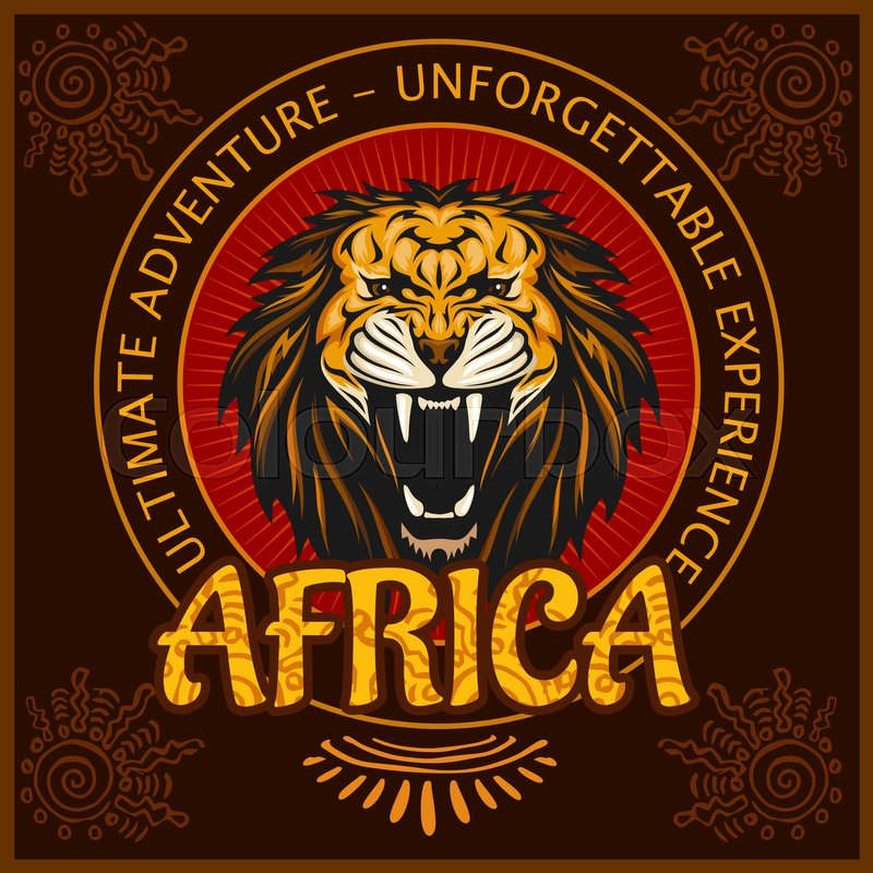 Africa - vector emblem on dark background. Vector illustration, vector
