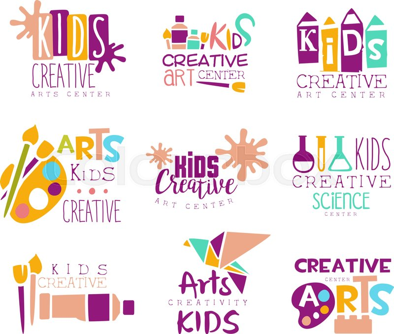 Kids Creative Class Template Promotional Logo Set With