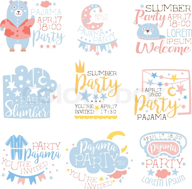 Blue And Pink Girly Pajama Party Invitation Templates Set Inviting ...
