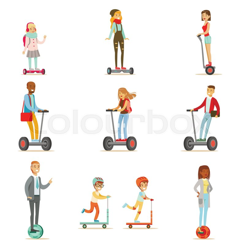 People Riding Electric Self-Balancing Battery Powered Personal Electric Scooters With One Or Two Wheels, Collection Of Cartoon Characters. Happy Man And Women Using Modern Technology Gyro Vehicles Vector Illustrations, vector