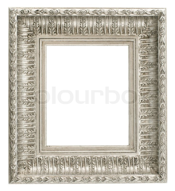 Silver old frame isolated on white | Stock Photo | Colourbox