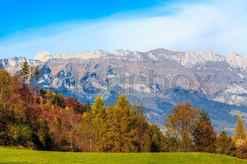 Mountain autumn landscape. Colorful autumn landscape. mountains landscape, stock photo