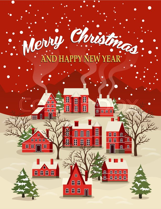 marry christmas and happy new year greeting card vector illustration houses in snowfall rural winter landscape at holiday xmas poster with red brick