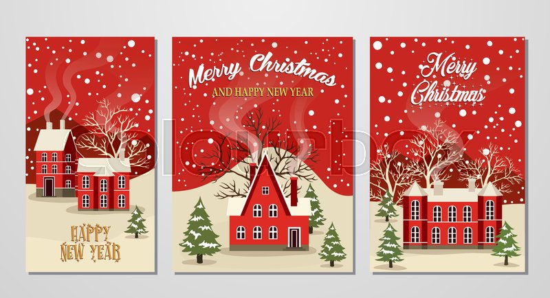 marry christmas and happy new year greeting card set vector illustration houses in snowfall winter landscape at holiday eve xmas background with snow