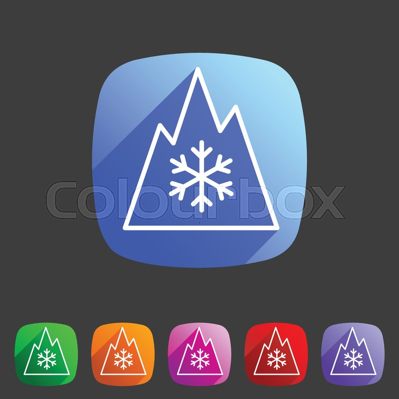 Snow Tire Mountain Snowflake Mud Snow Symbol Icon Flat Web Sign