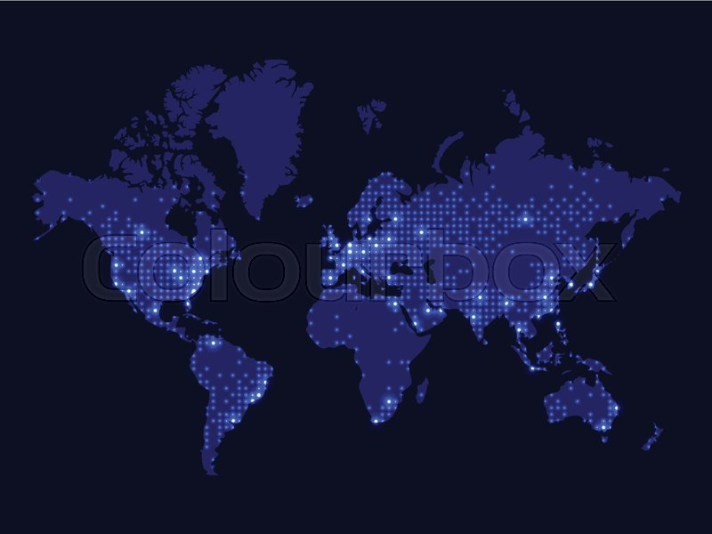 Illustration of night world map communications network world map illustration of night world map communications network world map dotted world map stock vector colourbox gumiabroncs Images